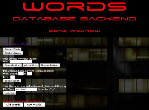 Tower-Words Database Backend